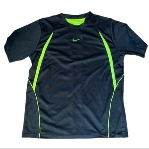 Nike Dri Fit Black and Green Quickdry Shirt Large